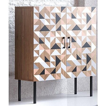 Spectral - Highboard mit 2 Türen mit Soft-Close, bedruckter Front, tobacco oak mit schwarz matt lackierten Metallkomponenten - Bild 1