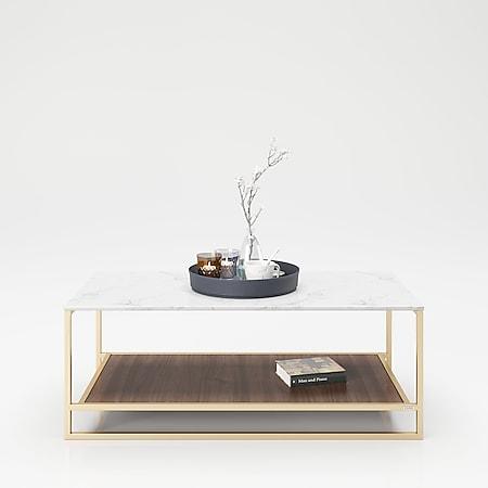 """PLAYBOY - Couchtisch """"OLIVIA"""" mit 1 Ablage im Walnuss Dekor, Tischplatte in Marmor Optik, goldenes Metallgestell - Bild 1"""