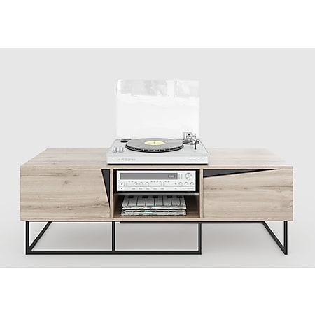 Carv - Lowboard mit 2 Türen und 2 offenen Fächern, Push-Open-Beschläge, Wild Oak Holzdecor, Metallsockel, modernes Industrial-Design - Bild 1