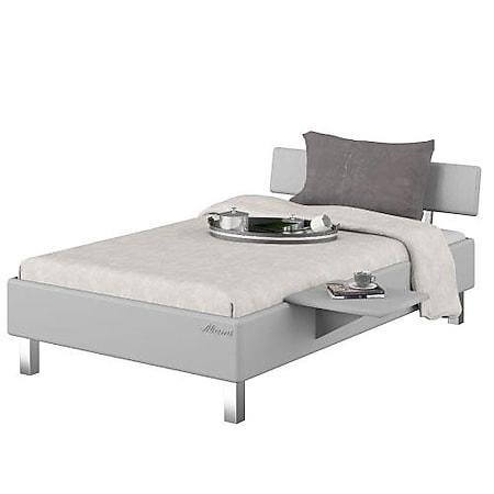 Miami_SET Jugendbett 120x200 , Metallic-Lackierung, chromfarbenes Logo aus hochwertigem Autoschriftzug, Weiß Matt - Bild 1