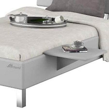 Miami Nachttisch zum einhängen in Jugendbett, Metallic Lackierung, chromfarbenes Logo aus hochwertigem Autoschriftzug, Weiß Matt - Bild 1