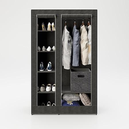 """PLAYBOY - Textilschrank """"TRACY"""" mit 6 Einlegeböden und 1 Kleiderstange, Reissverschluss, Retro-Design - Bild 1"""