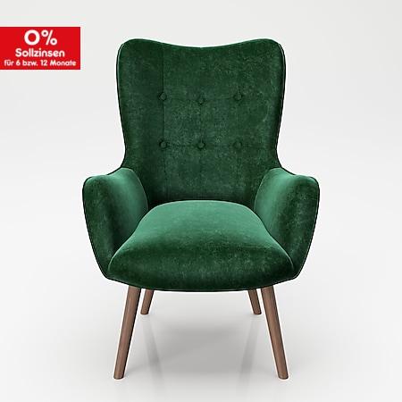 """PLAYBOY - Sessel """"BRIDGET"""" gepolsterter Lehnensessel, Samtstoff in Grün mit Massivholzfüssen, Retro-Design - Bild 1"""