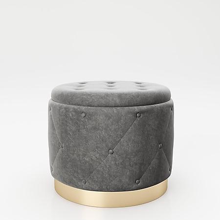 """PLAYBOY - Pouf """"LIZ"""" gepolsterter Sitzhocker mit Stauraum, Samtstoff in Grau und Chesterfield-Optik, Metallfuss in Goldoptik, Retro-Design - Bild 1"""