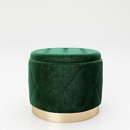 """PLAYBOY - Pouf """"LIZ"""" gepolsterter Sitzhocker mit Stauraum, Samtstoff in Grün und Chesterfield-Optik,  Metallfuss in Goldoptik, Retro-Design - Bild 1"""