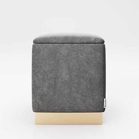 """PLAYBOY - eckiger Pouf """"BETTY"""" gepolsterter Sitzhocker mit Stauraum, Samtstoff in Grau, Metallfuss in Goldoptik, Retro-Design - Bild 1"""