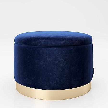 """PLAYBOY - runder Pouf """"SUE"""" gepolsterter Sitzhocker mit Stauraum, Samtstoff in Blau, Metallfuss in Goldoptik, Retro-Design - Bild 1"""