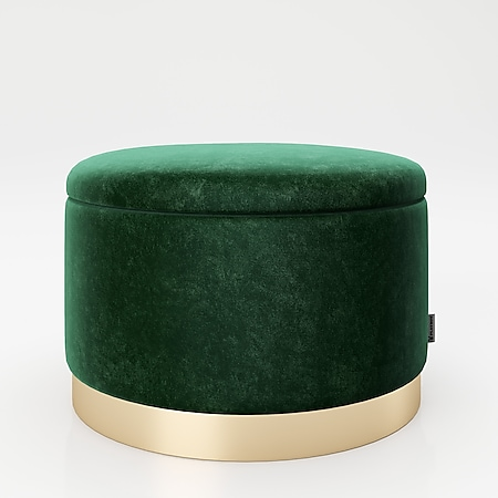 """PLAYBOY - runder Pouf """"SUE"""" gepolsterter Sitzhocker mit Stauraum, Samtstoff in Grün, Metallfuss in Goldoptik, Retro-Design - Bild 1"""