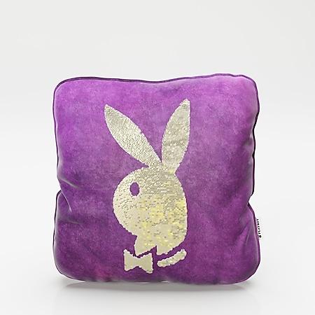 """PLAYBOY - Dekokissen """"ELLEN"""" mit Samtüberzug in Lila und gold/weissen Wendepailletten, mit Bunny, inkl Füllung - Bild 1"""