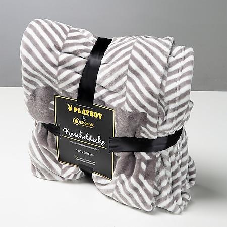 """PLAYBOY - Kuscheldecke """"JACKIE"""", luxuriöse, weiche Decke, Grau bedruckt, Premium-Microfaser - Bild 1"""