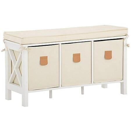 Country - Sitzbank mit bequemen, abnehmbaren Sitzkissen und 3 Stoffboxen, romantischer Landhausstil, Weiss - Bild 1