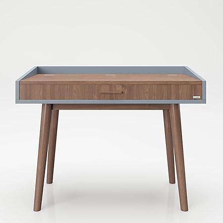 """PLAYBOY - Schreibtisch/Schminktisch """"HENRIETTE"""" mit Klappe und integriertem Spiegel, sanft schliessend, Walnuss/Grau, Retro-Design - Bild 1"""