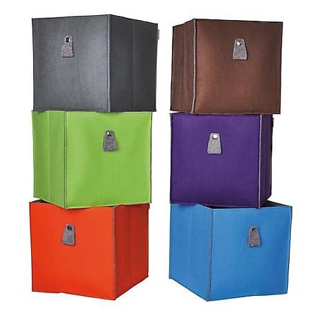 Atlanta - Filzbox, Aufbewahrungsbox, Regaleinsatz 34x34x34cm, faltbar, Mocca - Bild 1