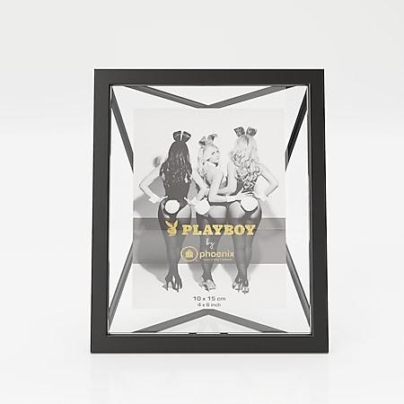 """PLAYBOY - Bilderrahmen """"HOPE"""", Inlet 10x15cm, geometrische Form, schwarzes Metallgestell, Retro-Design - Bild 1"""