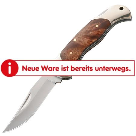 HERBERTZ Taschenmesser Einhandmesser Klappmesser Outdoor Stahl Wurzelholz Silber - Bild 1