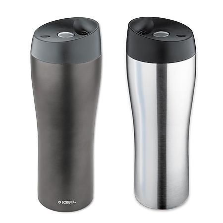 ISOSTEEL 400 ml Thermobecher - Autobecher Kaffee Isolierbecher Schraubverschluss Farbe: titangrau - Bild 1