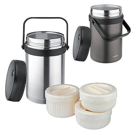 ISOSTEEL Isolierbehälter Essenbehälter Foodbehälter Thermobehälter mit 3 Boxen Farbe: titangrau - Bild 1