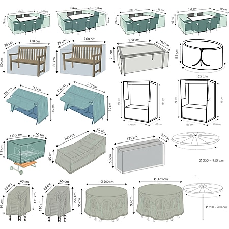 WEHNCKE Gartenmöbel Schutzhülle Hülle Abdeckung Sitzgruppe Abdeckplane Öse 420 D Variante: Für Garten Sitzgruppe 230 x 135 cm - Bild 1