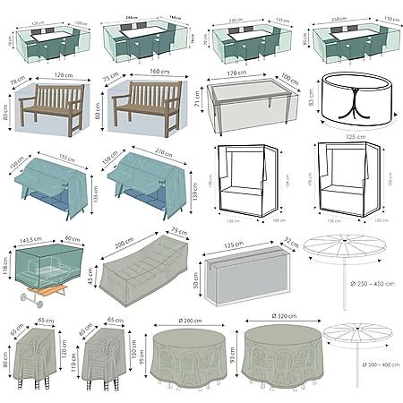 WEHNCKE Gartenmöbel Schutzhülle Hülle Abdeckung Sitzgruppe Abdeckplane Öse 420 D Variante: Für Sitzkissen Auflagen 125 x 50 cm - Bild 1