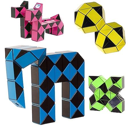 CLOWN MAGIC Snake Zauber Würfel 3D Puzzle Schlange Kinder Spiel Cube Twist Farbe: gelb - Bild 1