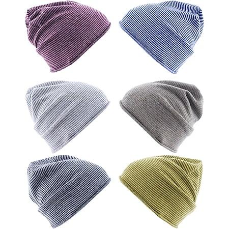 REALLY NICE CASHMERE Curl Stripes Strickmütze Beanie Unisex 100 % Kaschmir Mütze Farbe: Grau/Dunkelgrau - Bild 1