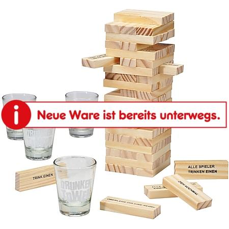 Holz Wackelturm Trinkspiel Saufspiel Geschicklichkeitsspiel Partyspiel +4 Gläser - Bild 1