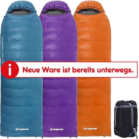 KINGCAMP Favourer 450 Decken Schlafsack 3 Jahreszeiten Camping Lang Daunen -13°C Farbe: Violett Right Zip - Bild 1