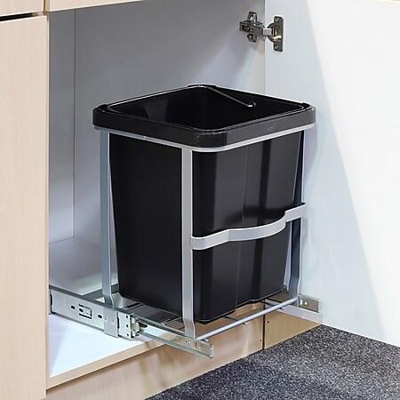 Teleskop Müll Eimer Küchen Schrank Einbau Auszug Abfall Sammler Ausziehbar 14 L - Bild 1