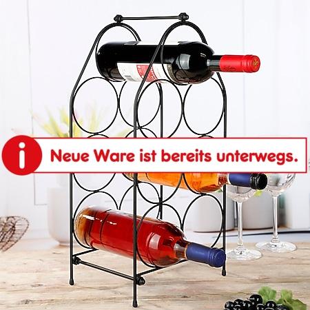 Weinständer Für 7 Flaschen Wein Regal Schrank Halter Metall Schwarz 22x16x47 cm - Bild 1