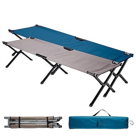 GRAND CANYON Alu Feldbett Topaz M/L Camping Liege Gäste Klapp Bett Groß 150 kg Modell: Medium - Dark Blue - Bild 1