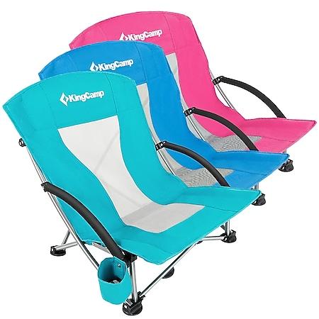 KINGCAMP Strand Liege Stuhl Camping Klapp Falt Sessel Niedrig Garten Stahl 136kg Farbe: cyan - Bild 1