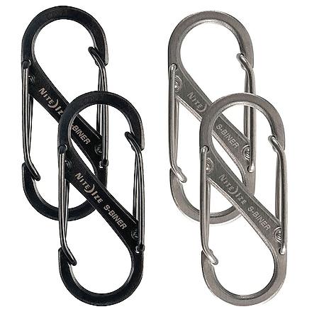 NITE IZE 2er Set SlideLock S-Biner Mini Doppel Karabiner Haken Schlüsselanhänger Farbe: silber - Bild 1