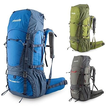 PINGUIN Trekking Wander Rucksack Explorer 60 Liter Outdoor Höhenverstellbar Farbe: blau - Bild 1