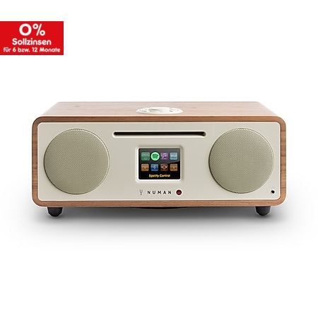 NUMAN Two – 2.1 Design Internet-Radio mit CD-Player 30 W USB Bluetooth Spotify Connect DAB+ Steuerung per App Podcast... Walnuss - Bild 1
