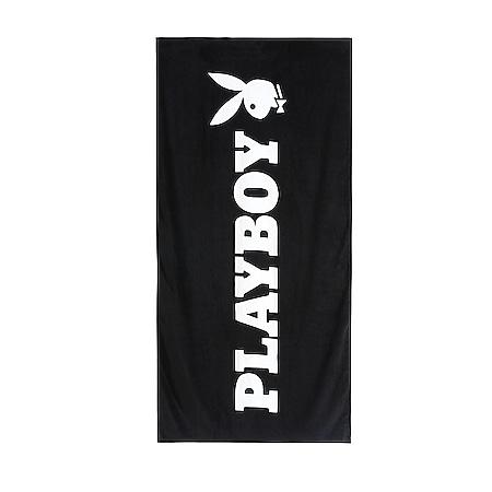 PLAYBOY Strandtuch •  75x150 cm • Velours Handtuch Badetuch • Strandlaken Schwarz - Bild 1